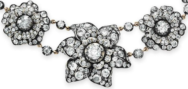 Detail, a Victorian antique diamond flower necklace.