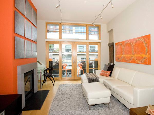 Ruang tamu eksotis bertema jingga atau orange