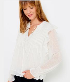 blouse blanche plumetis - camaieu