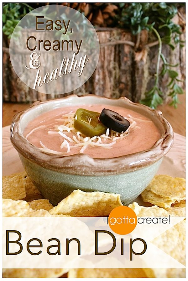 Easy, creamy, healthy bean dip! | lower calorie recipe at I Gotta Create!
