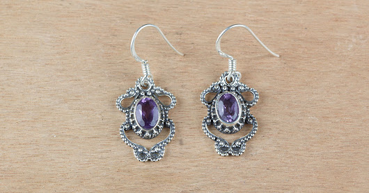 Wholesale Handmade Sterling Silver Amethyst Earring