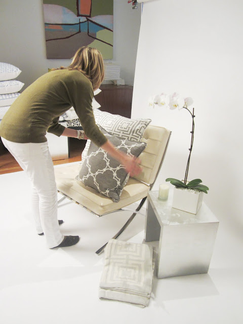 primping pillows for COCOCOZY Collection photo shoot