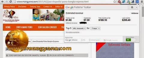 Penghasilan Google adsense blog mang yono