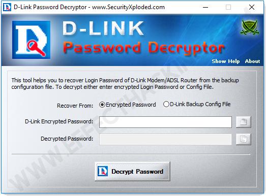 DLink Password Decryptor Encrypted Password Screenshot