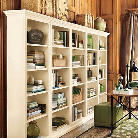 We have a Ballard Designs Outlet just 20 minutes away so I know I could get  these bookcases at a fraction of their original cost. What's holding me  back? - Bookcases For A Home Office: Traditional White Vs. Industrial