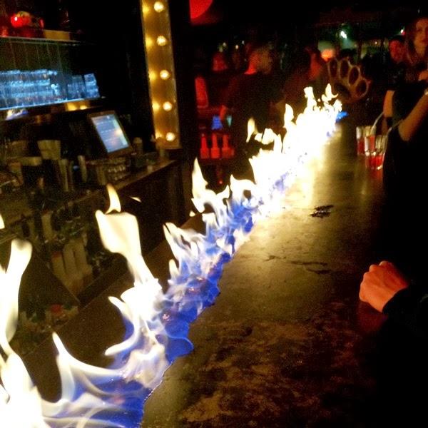 Flaming bar at Titty Twister nightclub in Paris