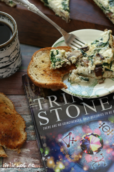 Egg White Frittata with Mushrooms, Spinach, and Goat Cheese inspired by Trinity Stones | www.girlichef.com