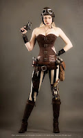This is an example of an overbust corset being used in women's Steampunk fashion.
