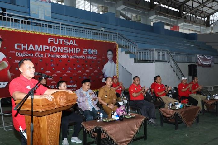 Plt Bupati Nanang Ermanto Membuka Resmi Dispora CUP I Di Gor Way Handak Lamsel.