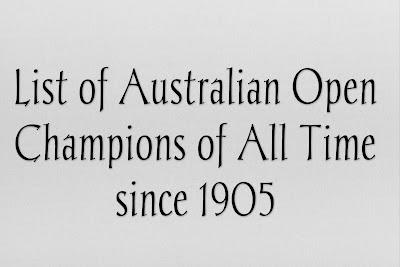 Australian Open Men's Singles, winners list, Champions, historical results, 1905-2019.
