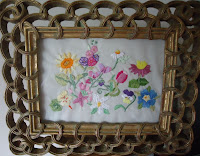 Embroidered Flowers in a Frame