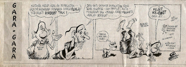 """Komik """"Gara-gara"""" karya Gunawan Pranyoto. Dipublikasikan di media pada 31 Agustus 2008."""