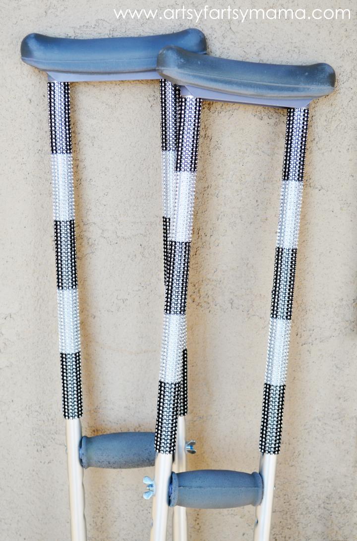 DIY Bling Crutches at artsyfartsymama.com #bling #makeover