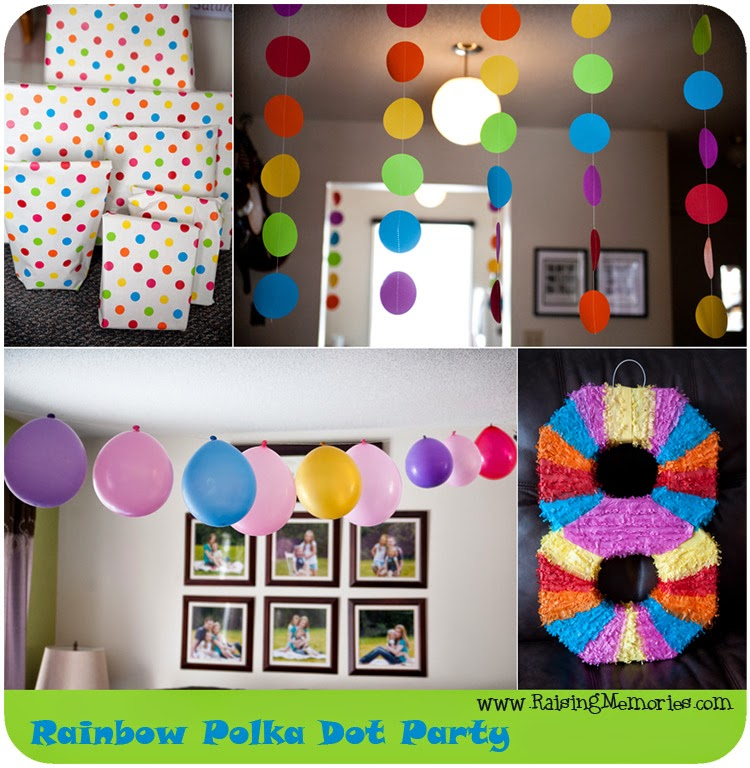 Rainbow Polka Dot Party Decorations by www.RaisingMemories.com