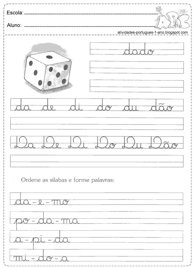 Letras Cursivas Atividades Para Imprimir Só Escola