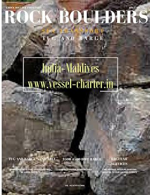 India, Tuticorin, barge, tug, maldives, rock bloulders, ramp