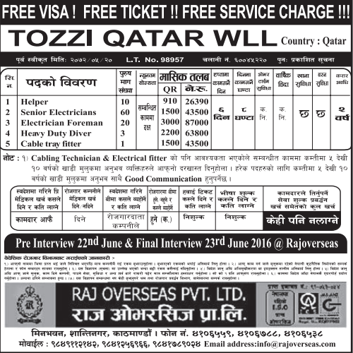 Free Visa, Free Ticket, Free Service Charge  Jobs For Nepali In Qatar, Salary -Rs.87,000/