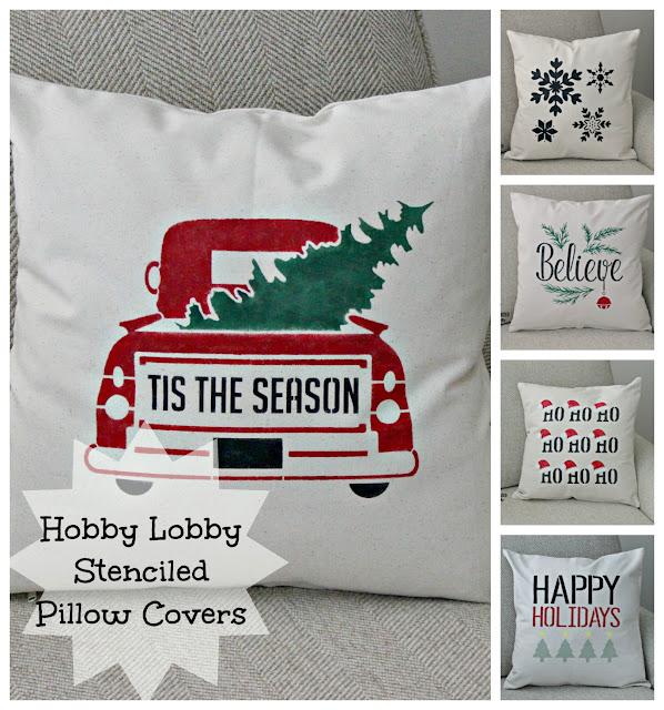 Five DIY Stenciled Christmas Pillow Covers #hobbylobby #Christmas #farmhouse #canvaspillow #stencil
