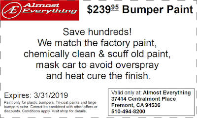 Discount Coupon $239.95 Bumper Paint Sale March 2019