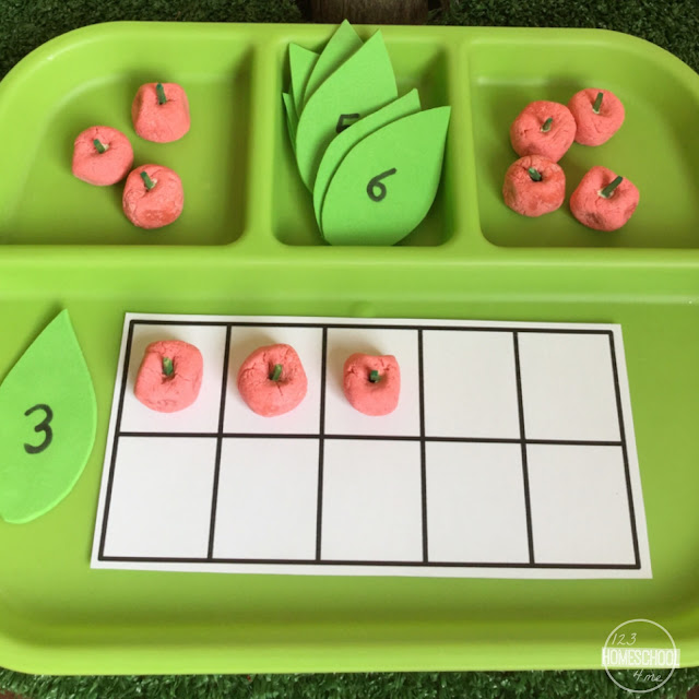 apple counting activity for toddler, preschool, prek, kindergarten