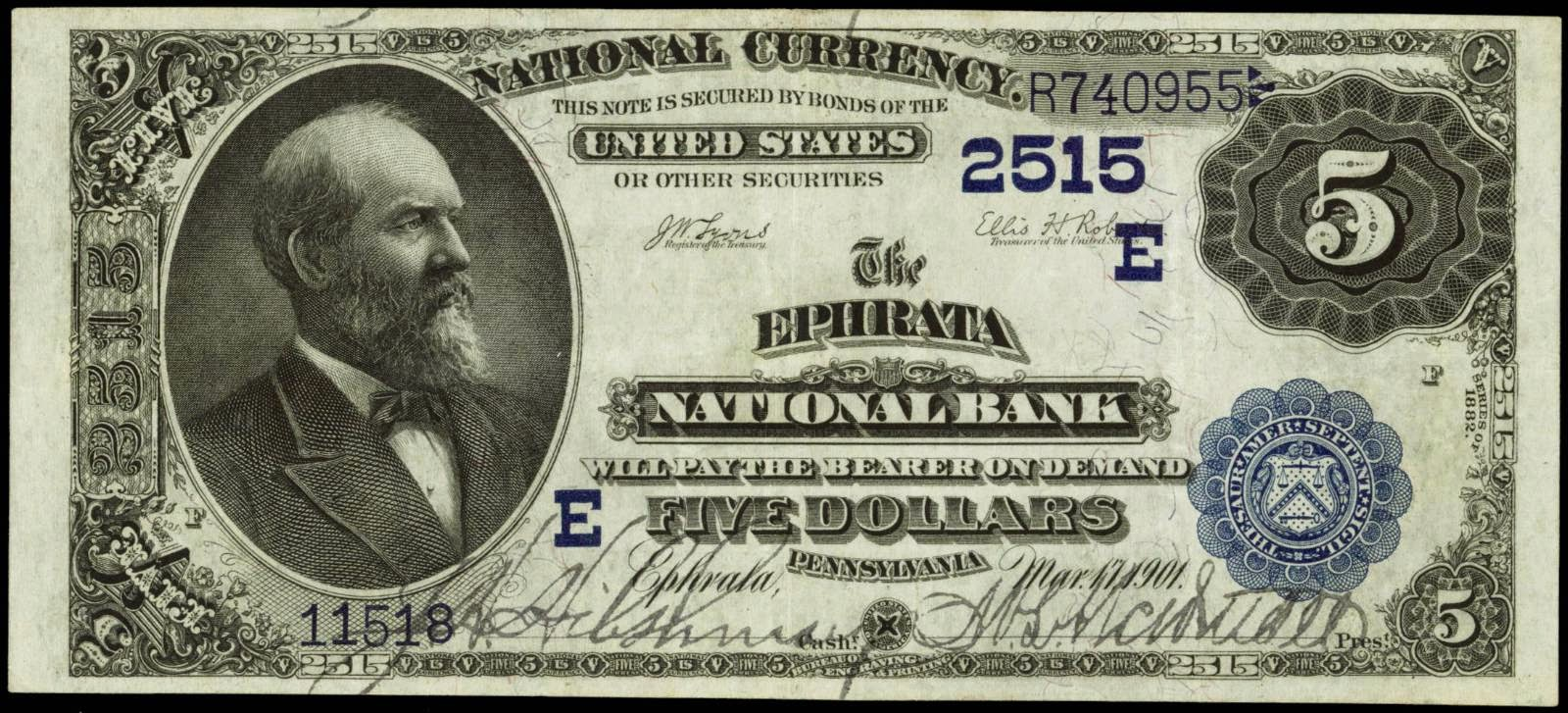 1882 5 Dollar bill National Currency Bank Note