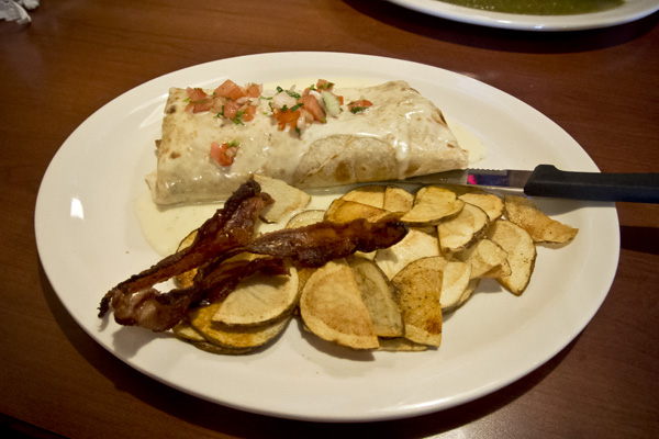 Breakfast burrito at Las Fiestas Mexican Cafe in Nashville Tennessee