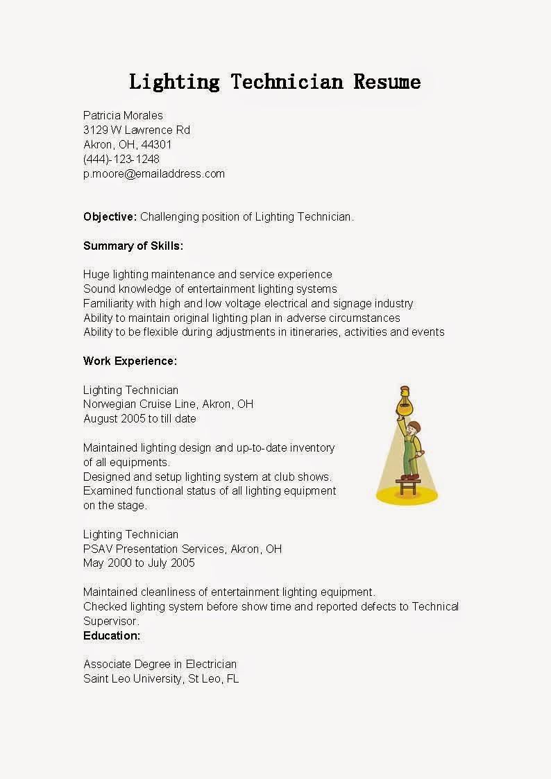 Resume Samples Lighting Technician Resume Sample