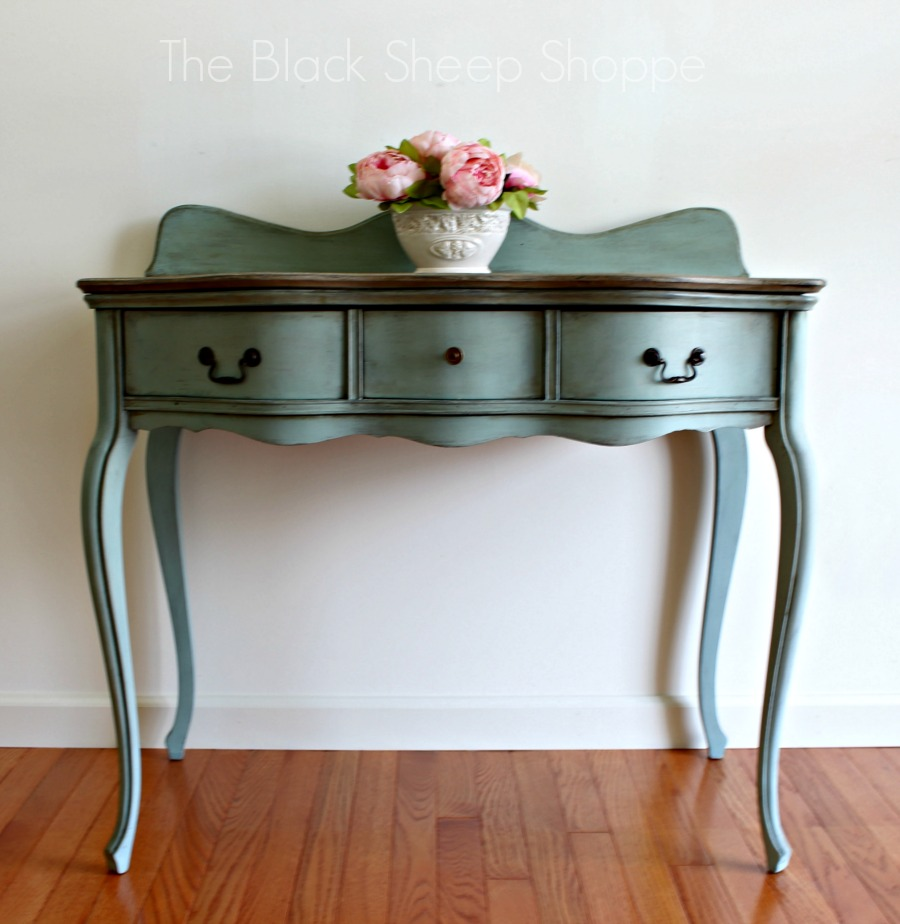 Antique desk from 1901 painted Duck Egg Blue