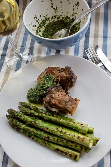 Mutton in sherry with asparagus and salsa verde