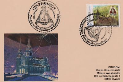 Tarjeta con matasellos y sello del Centenario de la Basílica de Covadonga