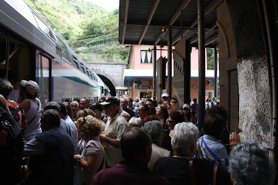 Crowded Vernazza Train Station Cinque Terre