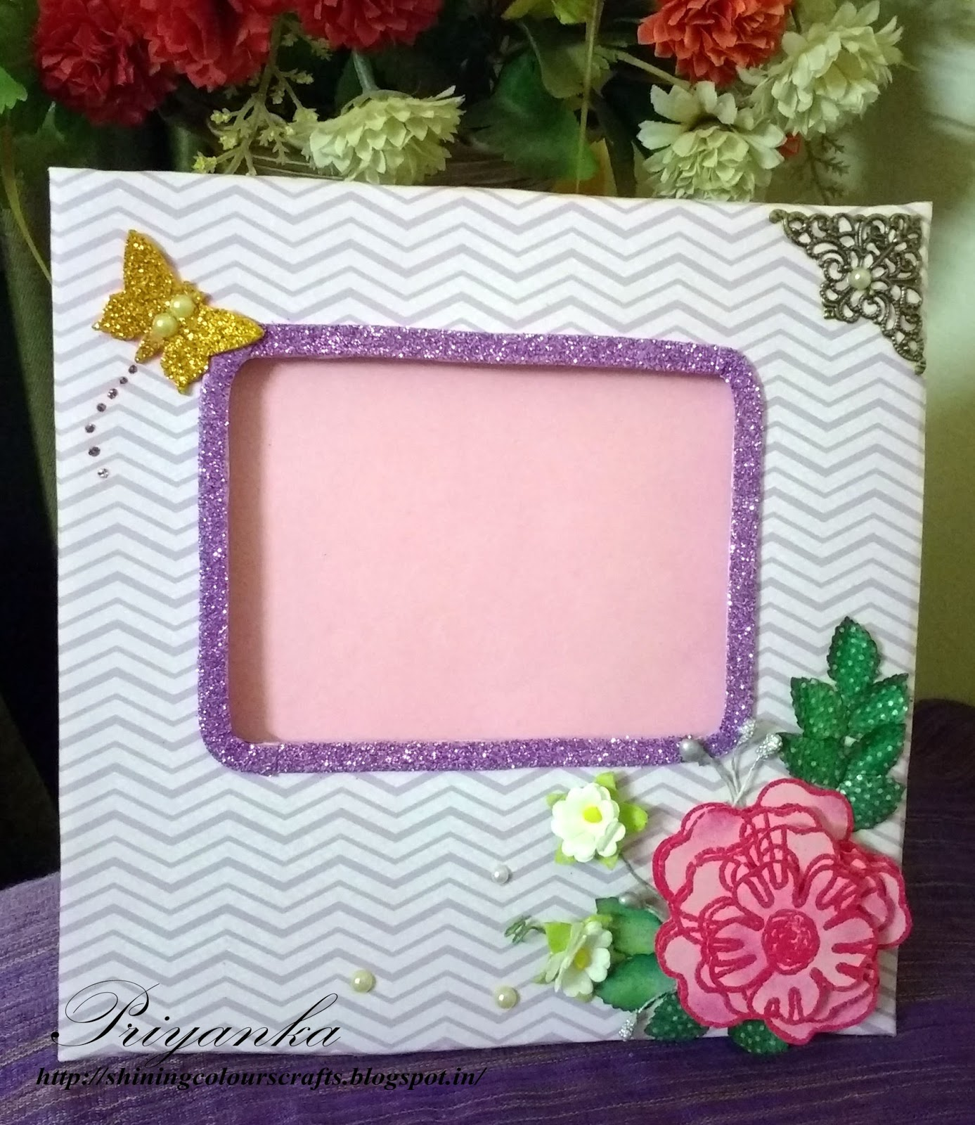 Shining Colours Handmade Crafts : Photo frame with 3D Decoupage Flower