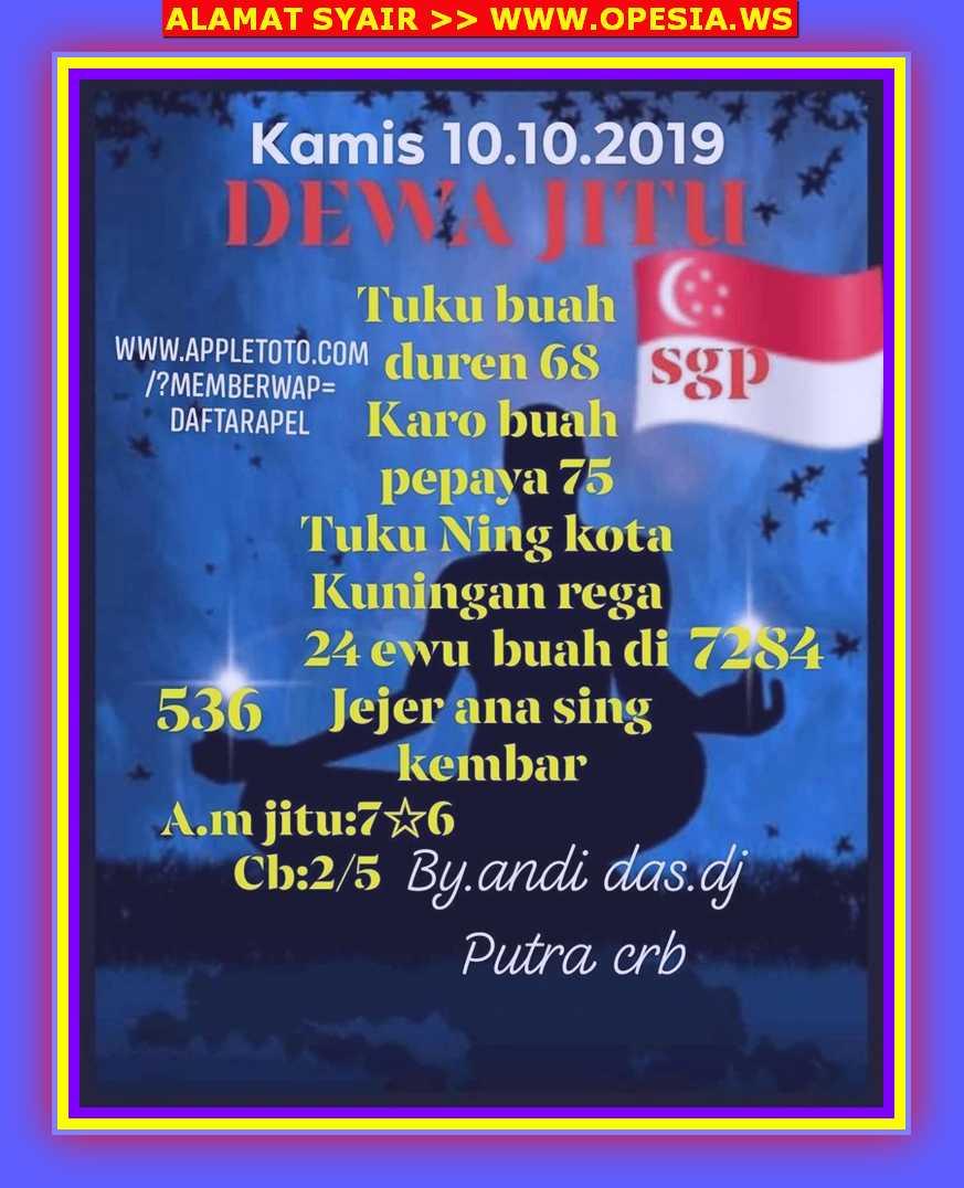 Kode syair Singapore Kamis 10 Oktober 2019 5