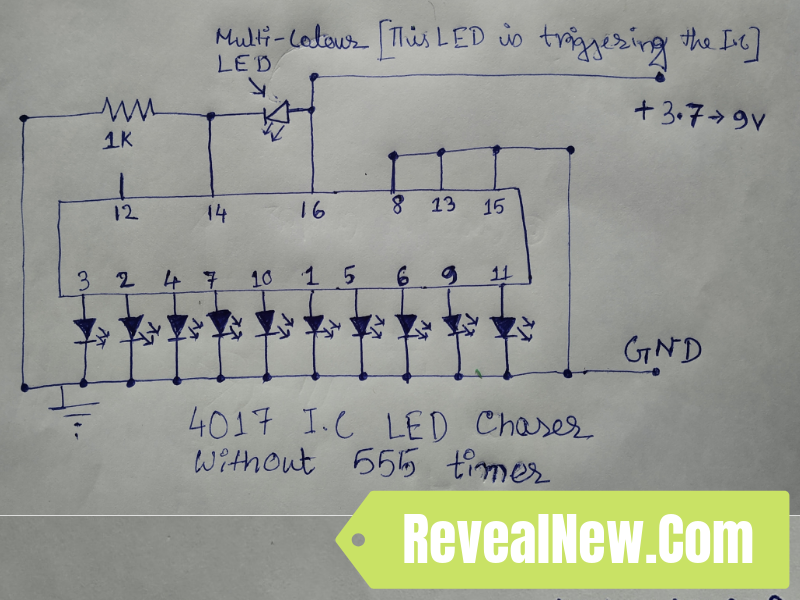 Led Chaser Circuit Diagram The Circuit Consist Of A 4017 - Wiring