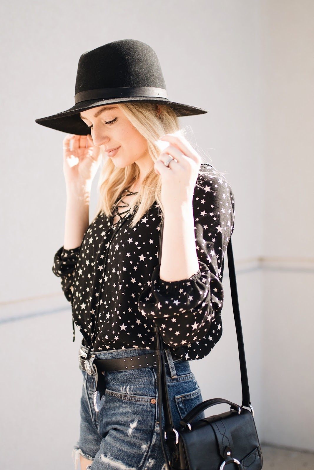 star print top with a wool hat