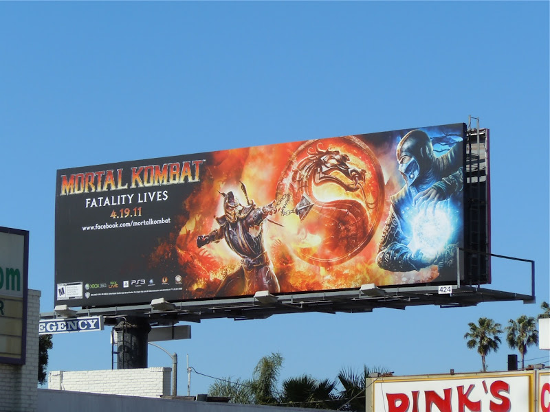 Mortal Kombat Fatality lives game billboard