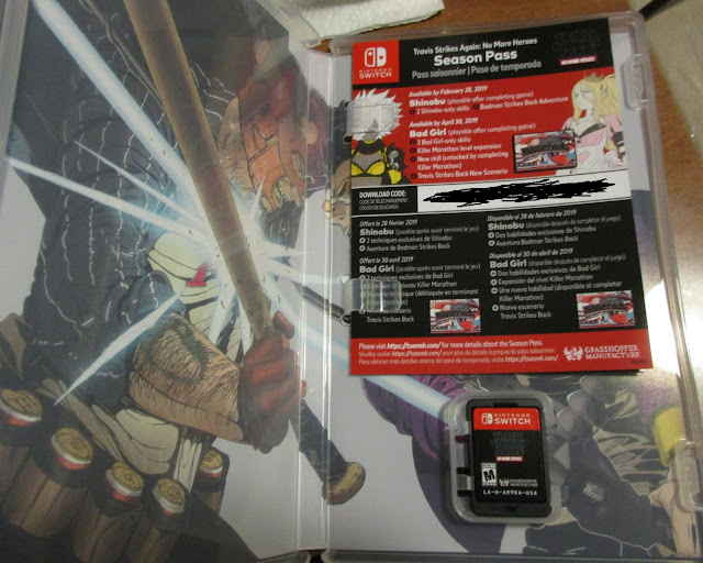 Physical box Travis Strikes Again No More Heroes contents unboxed game card season pass code