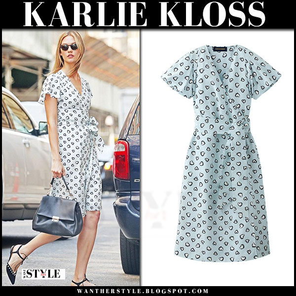 Karlie Kloss in light blue heart print dress and black flats bind castana leah what she wore models off duty
