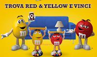 Logo Trova Red & Yellow e vinci gratis display Character M&M's