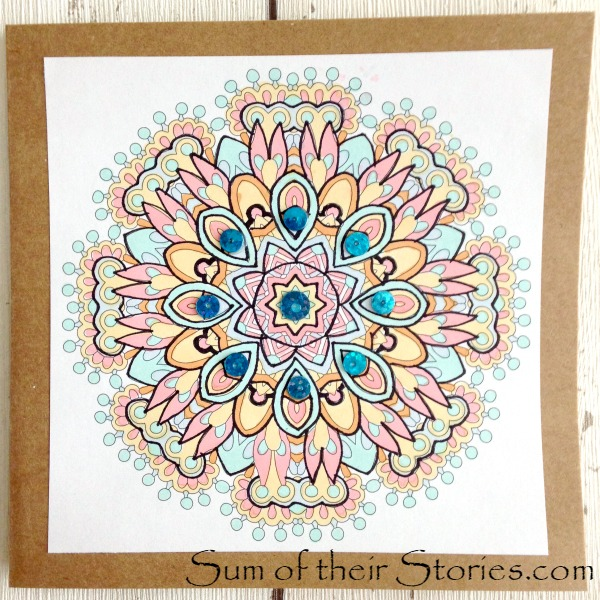 card made using completed colouring pages