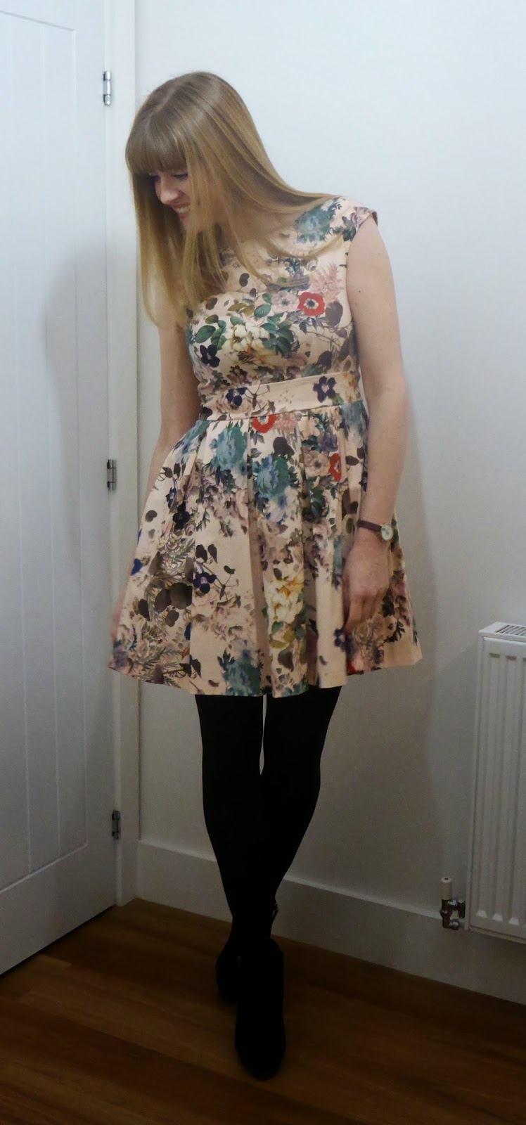valentines outfit floral skater dress with ankle boots