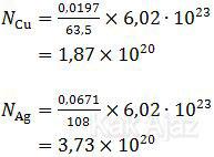 Jumlah atom Cu dan Ag yang mengendap pada katoda