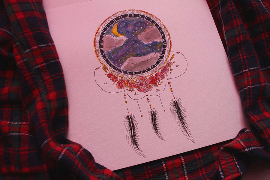 Draw On Monday, #16, Dreamcatcher, attrape rêve, watercolor, night, dream, dessin, blog dessin, blog dessin, aquarelle, DOM, enjoyk, kelly,