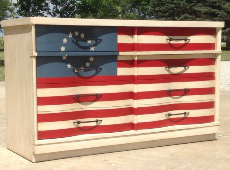 how to refinish furniture for the 4th of july, 4th of july furniture, painted flag on a dresser