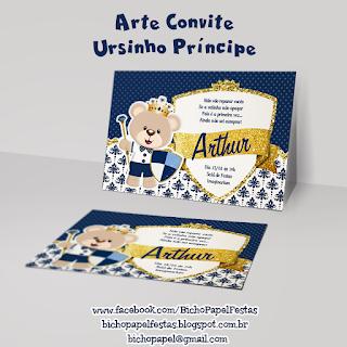convite ursinho príncipe azul marinho e dourado