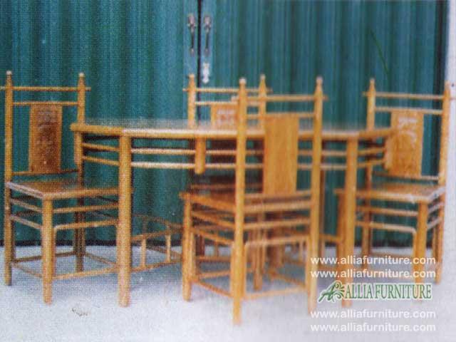 meja kursi makan ukiran model bambu