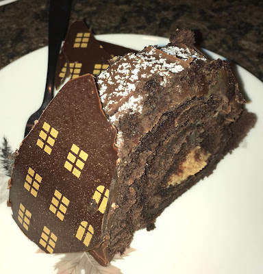 Santa's Rooftop Chocolate and Caramel Yule Log Slice Marks & Spencer
