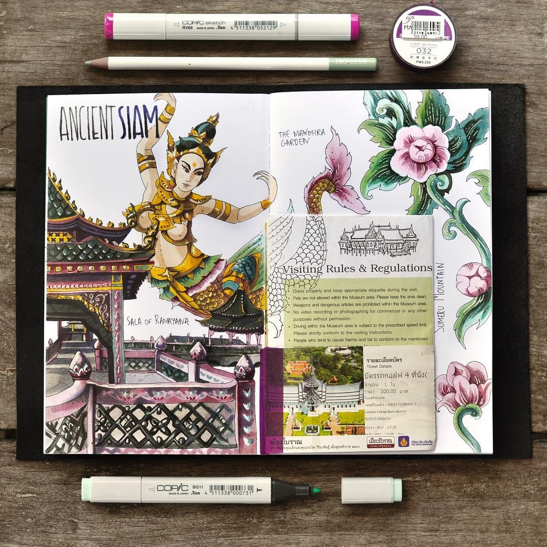 05-Ancient-Siam-My-Thai-Travel Book-Anna-Rastorgueva-Architecture-Travel-Journal-Urban-Sketches-Illustrations-www-designstack-co