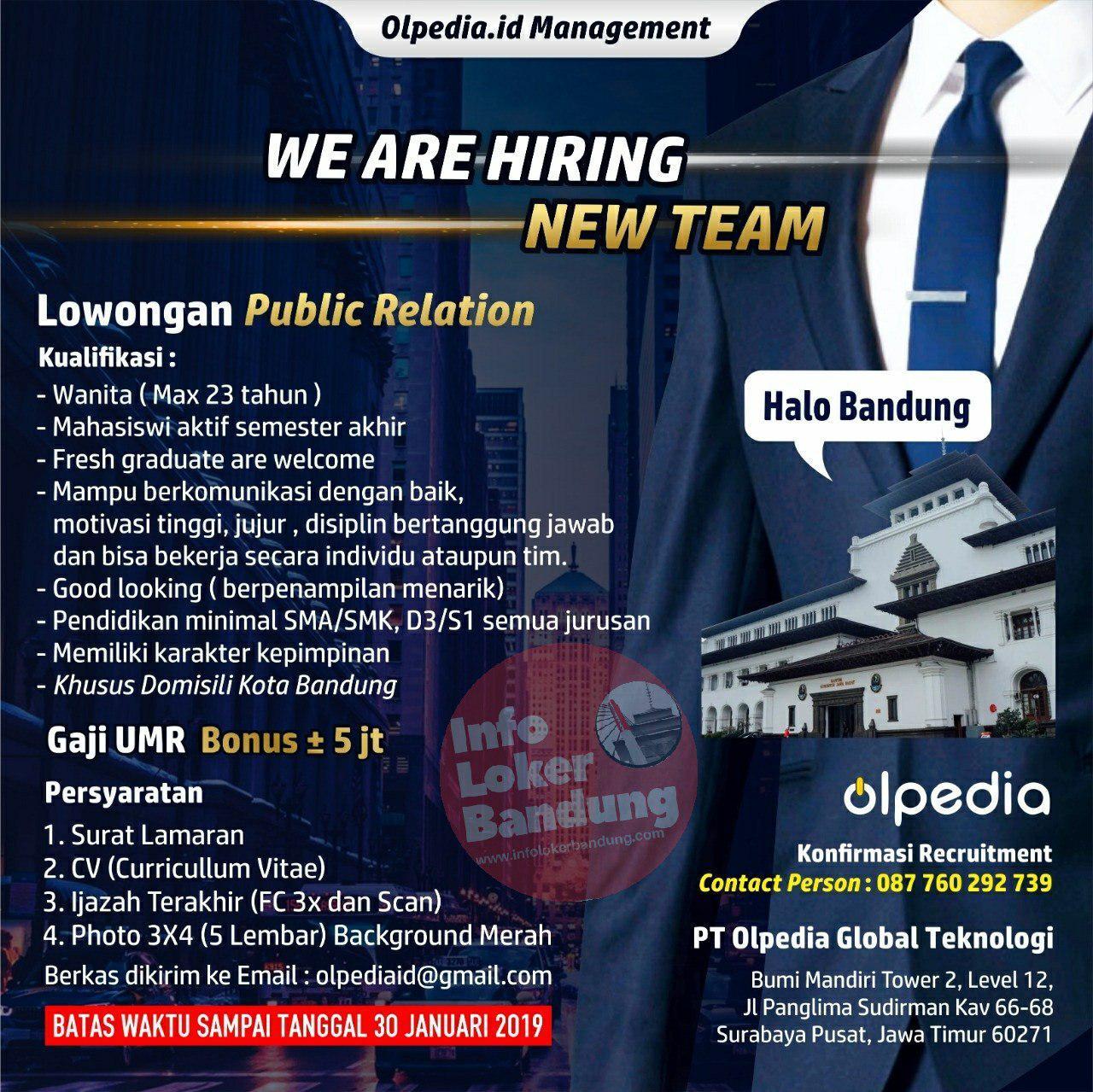 Lowongan Kerja PT.Olepedia Global Teknologi Bandung Januari 2019