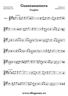 "Guajira Guantanamera de ""Joselito"" Partitura para saxofón alto, trompeta, clarinete, violín, trombón, viola, violonchelo, saxo tenor, saxo soprano, bombardino, flauta travesera y de pico, fagot, oboe..."